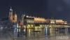 Panorama of Main Market Square at night, Poland, Krakow