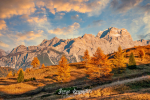 Amazing autumn scenery of Italian Dolomite Alps in sunset light