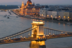 Chain Bridge and Parliament in Budapest at twilight, Hungary