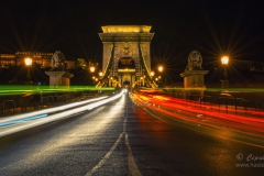 Scenic night view of Chain Bridge in Budapest, Hungary