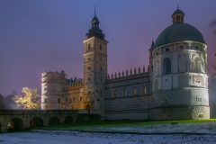 Scenic nightscape of renaissance castle in Krasiczyn, Podkarpackie voivodeship, Poland