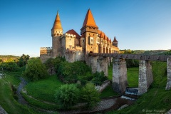 Beautiful panorama of the Corvin Castle, Hunedoara, Transylvania, Romania