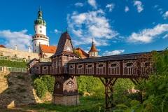 Castle of Nove Mesto nad Metuji with covered wooden bridge, Czech Republic