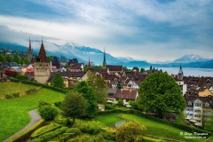 Beautiful panoramic top view of the old town of Zug, Switzerland